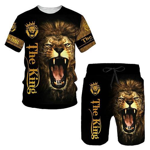 Ferocious Lion Summer 3D Printed Men's T-Shirt Shorts Set Men's short