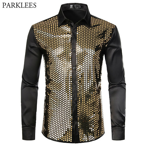 Shiny Gold Sequin Black Silk Dress Shirts Men Long Sleeve Button Down