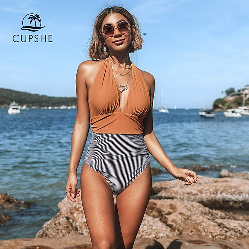 CUPSHE Keeping You Accompained Stripe One-Piece Swimsuit v Neck Backless Halter