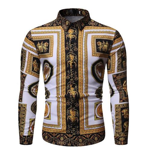 New Fashion Men's Baroque Floral Royal Shirts Luxury Brand
