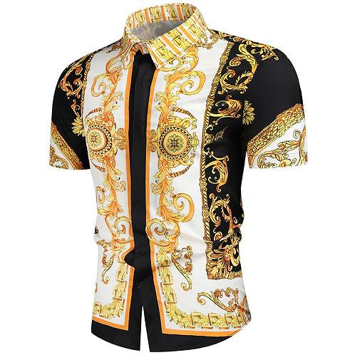 Luxury Royal Shirt Men Casual Slim Fit Short Sleeve Men Paisley Print Shirt