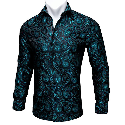 Barry.Wang Teal Paisley Floral Silk Shirts Men Autumn Long Sleeve Casual
