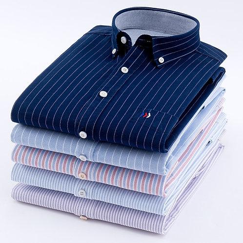Men's Oxford 100% Cotton Fashion Stripe Casual Long Sleeve Shirts