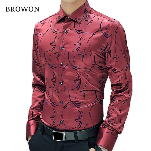 2021 New Arrival Luxury Brand Mens Formal Shirts Long Sleeve Floral Men Shirt