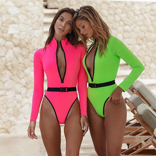 Neon Pink Surfing Swimsuits Long Sleeve Zipper Bathing Suit Women High
