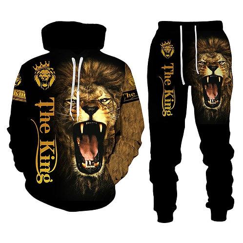 The Lion King Autumn Winter 3D Printed Men's Hooded Sweater Set Men's Sportswear