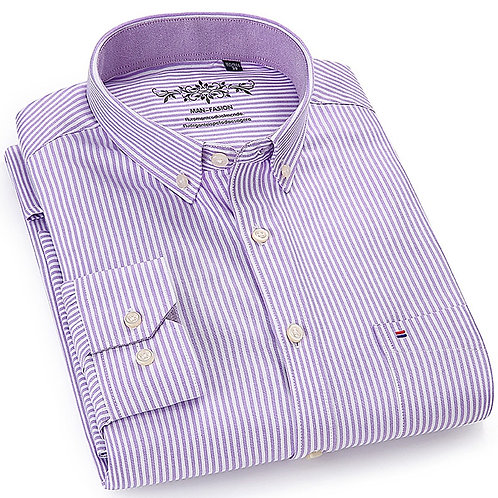 Men's Work Casual Regular-Fit Oxford Striped Plaid Checkered Shirt Single Patch