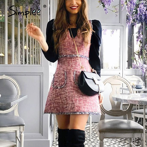 Simplee Vintage Tweed Autumn Women Dress Sleeveless v Neck Tassel Pockets Office