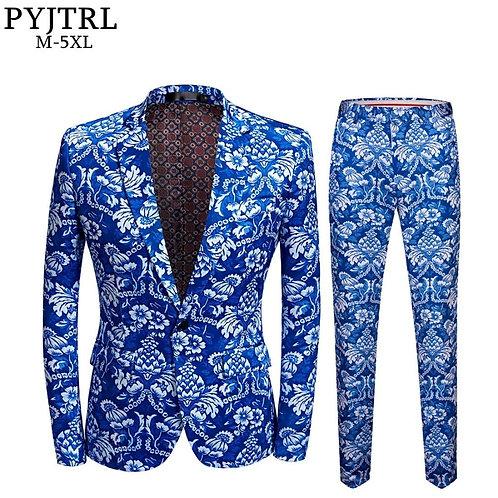 PYJTRL Brand New Mens Vintage Blue Floral Print Slim Fit Suit