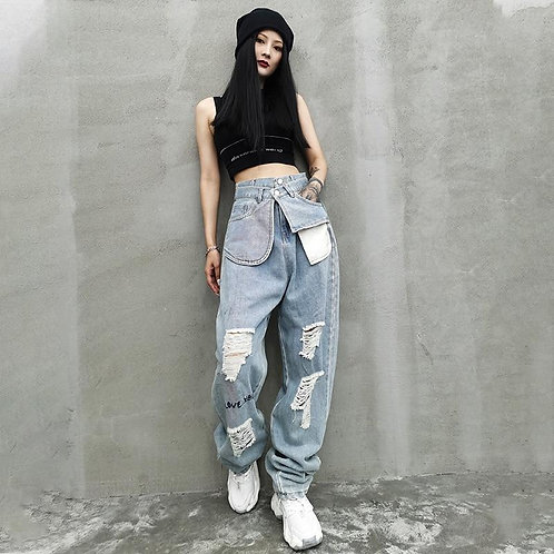 Kuma High Waist Ripped Denim Pants