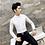 Thumbnail: Men Shirt 2020 Spring Hollow Lace Patchwork Long Sleeve Shirt Men Streetwear