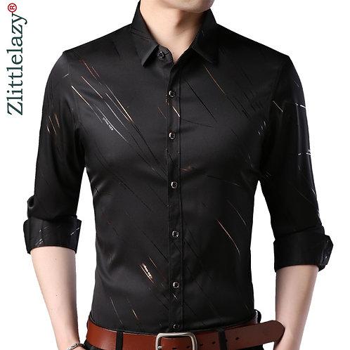 2021 Brand Fashions Casual Slim Fit Long Sleeve Men Shirt Social Streetwear