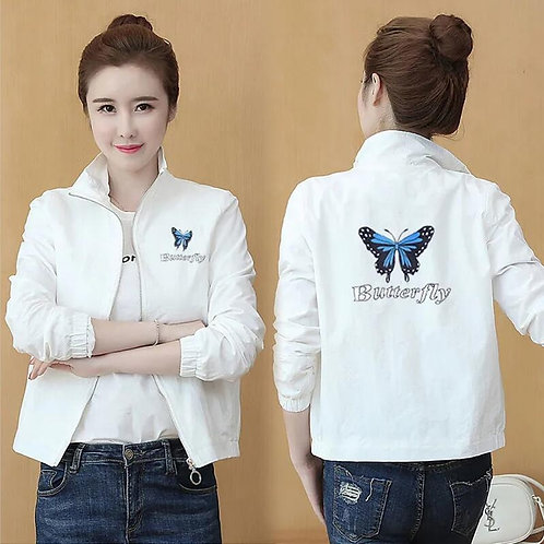 Stand-Up Collar Jackets 2021 New Spring Women Fashion Butterfly Print