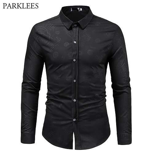 Mens Casual Button Down Dress Shirts Casual Business Wedding Chemise