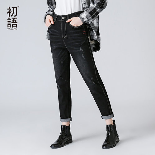 Toyouth Ripped Jeans for Women Autumn Winter Casual Black Jeans Lady Straight