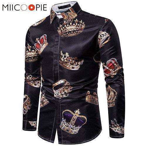 Royal Crown Print Black Shirt Men Luxury Casual Camisas