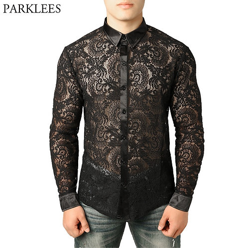 Men's Mesh See Through Fishnet Clubwear Shirts Slim Fit Long Sleeve Sexy Lace