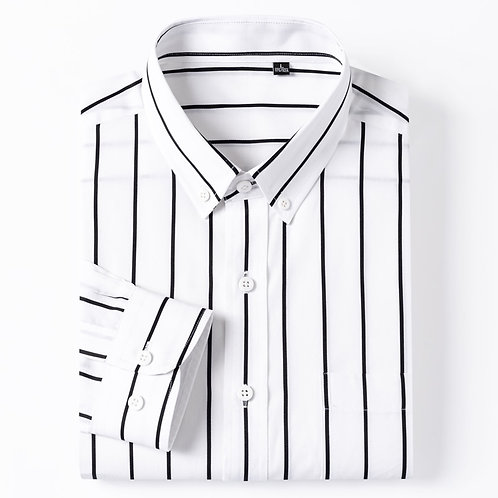 England Style Plaid Checkered Cotton Shirts Single Patch Pocket Long Sleeve