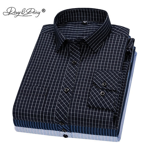 DAVYDAISY 2020 New Arrival Men Shirt Long Sleeve Shirts Twill Plaid Fashion