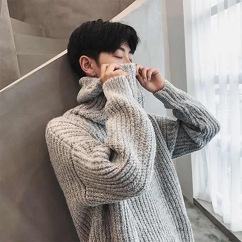Autumn and Winter Turtleneck Sweater Men Wild Knitted Jacket Solid Warm Sweater