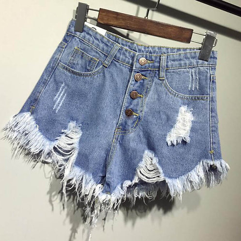 New Arrival Casual Summer Denim Women Shorts High Waists Fur-Lined Leg-Openings