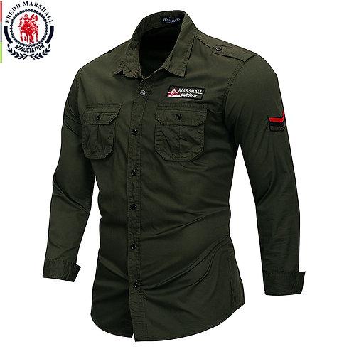 Fredd Marshall 2019 New 100% Cotton Military Shirt Men Long Sleeve Casual Dress