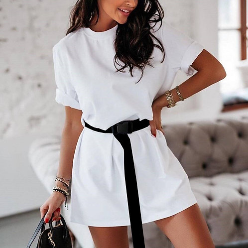 Sexy Belted Solid Women Summer Dresses Casual Loose Khaiki Black White