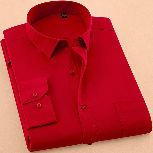 2018 New Autumn Mens Dress Shirt Long Sleeve Casual Pure Color Business Red