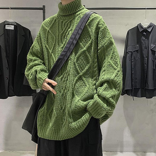 Warm Sweater Male Thicken  Sweater Vintage Sweater,Autumn Winter Solid Color