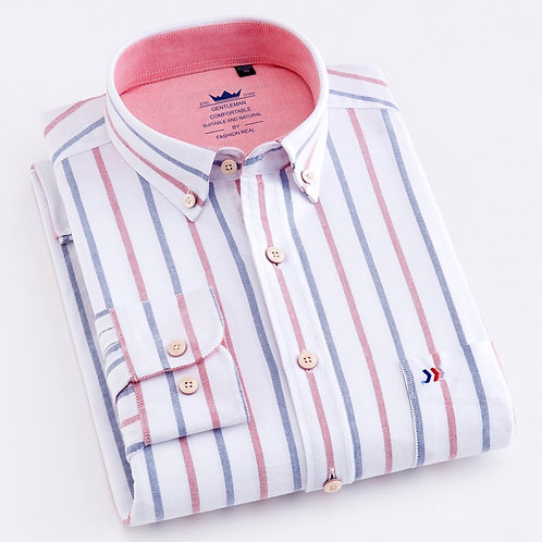 Men's Casual 100% Cotton Oxford Striped Shirt Single Patch Pocket Long Sleeve