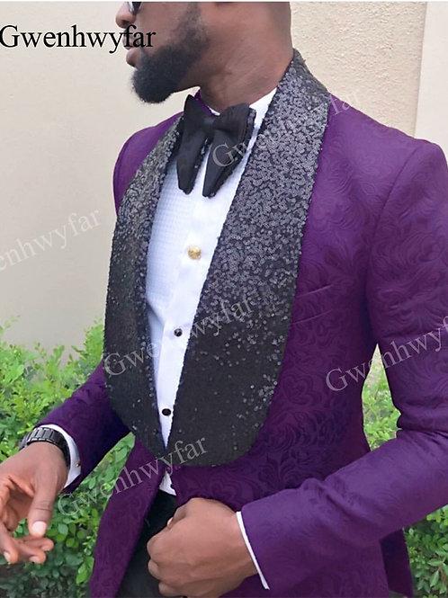 Gwenhwyfar Side Vent Groomsmen Tuxedos Purple Groom Tuxedos Shawl