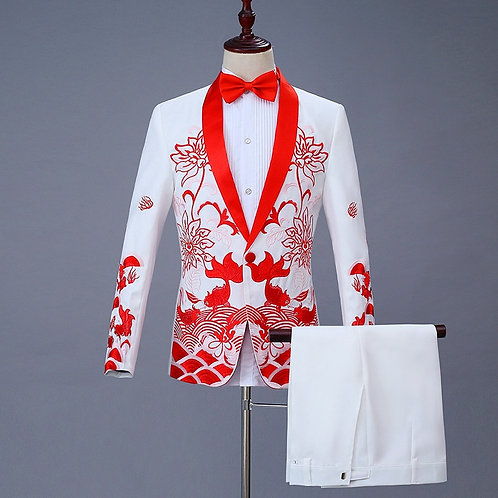 Chinese Men's Chinese Style Suits Groom Suit Costumes Single Breasted Two Piece