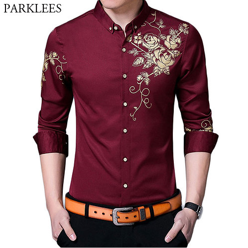 Brand Wine Red Mens Dress Shirts 2018 Fashion Golden Rose Flower Print Button