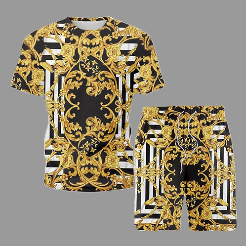 Retro Style T-Shirt+Shorts Two Piece Set 2021 Summer Classic Casual Men's Sets