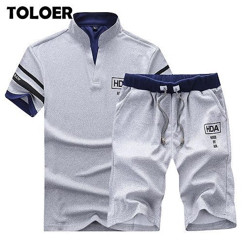 2021 Men's Summer Sets Shorts + Short Sleeve T Shirt Men Beach Shorts Tee Male