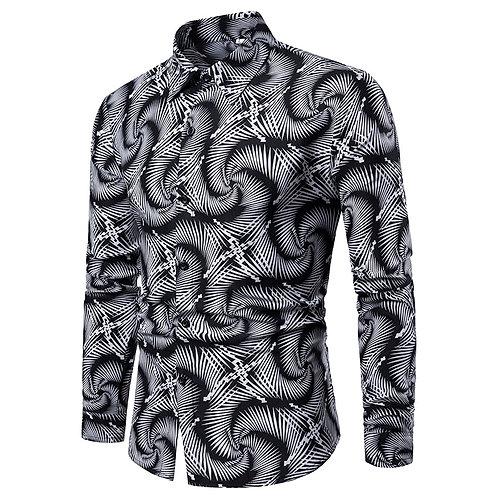 Men's Casual Vortex Slim Fit Long-Sleeved Formal Dress Shirts Men's