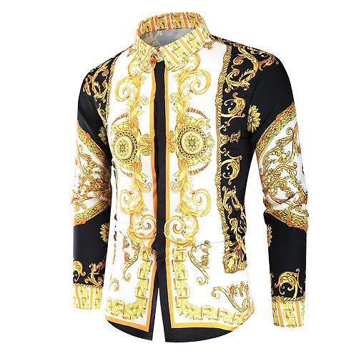 Luxury Royal Shirt Men Casual Slim Fit Long Sleeve Men Paisley Print Shirt