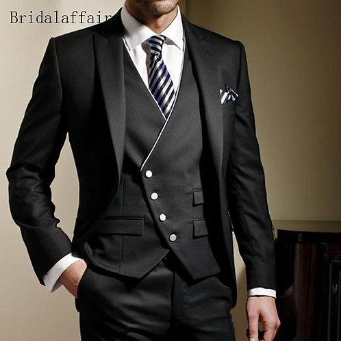 Bridalaffair Black Formal Men Suit Slim Fit Mens Suits Bespoke Groom Tuxedo B