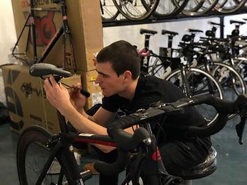 Turnaround Sports workin o a bike, Bike fitting