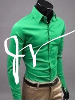 Basic Lapel Solid Color Long Sleeve Cotton Blend