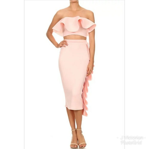 Pink Ruffled Two Piece Dress