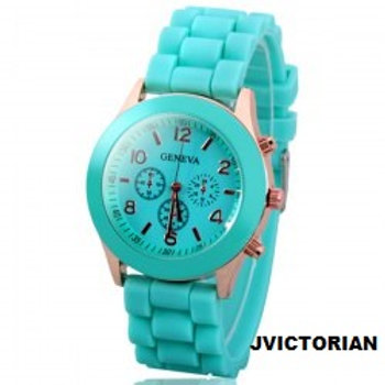 Geneva Candy Color Quartz Women Watch with Round