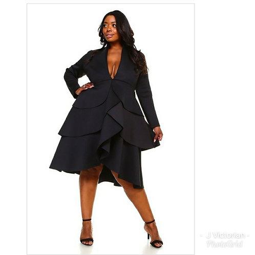 Black Low-Neck Plus Dress