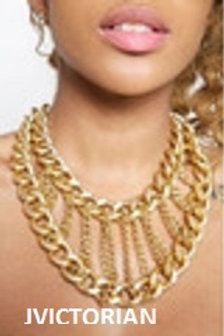 New Stylish Gold Plate Chunky Choker Bib Collar