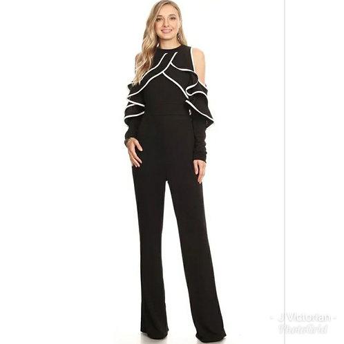 Black & White Ruffled Jumpsuit