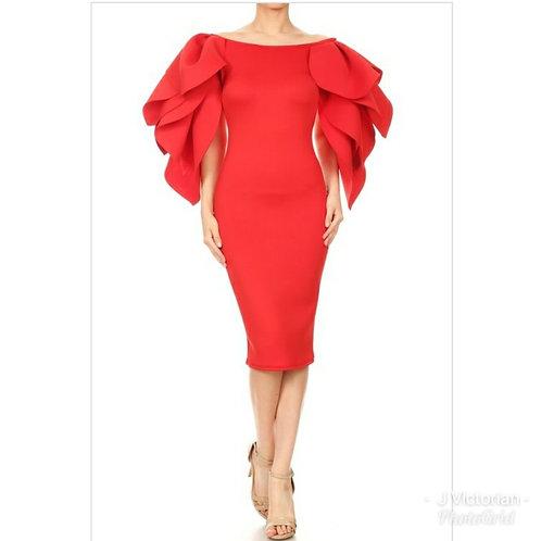 Red Fancee Sleeve Dress