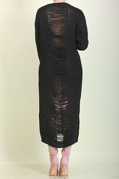 Shredded Black Sweater Dress