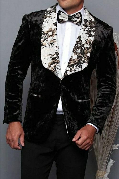 Black Suede Men's Blazer with matching Bow Tie