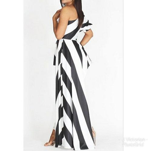 White & Black Stripe Top