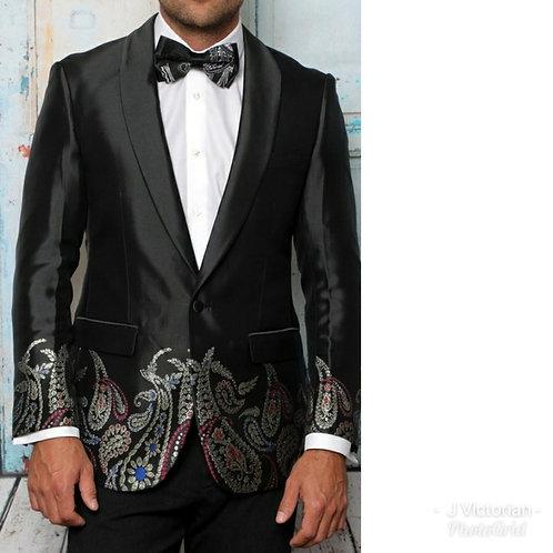Black Printed Men's Blazer